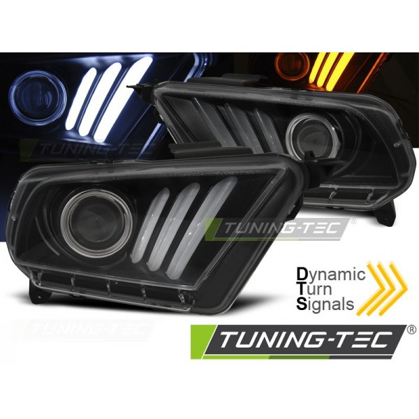 Передние фары FORD MUSTANG V 10-13 TUBE LIGHT BLACK